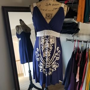 Blue dress with front design
